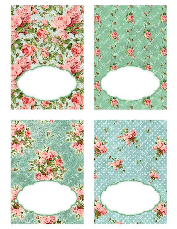 Coloque tarjetas de la tienda del partido Tarjetas para imprimir Decoración por blossompaperart