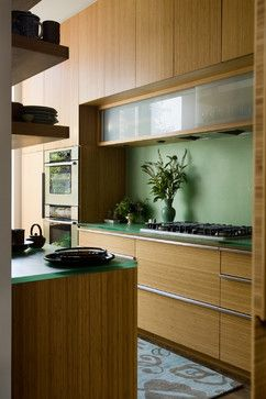 kitchen with bamboo cabinets and resin countertops - contemporary - kitchen - birmingham - Erdreich Architecture, P.C.
