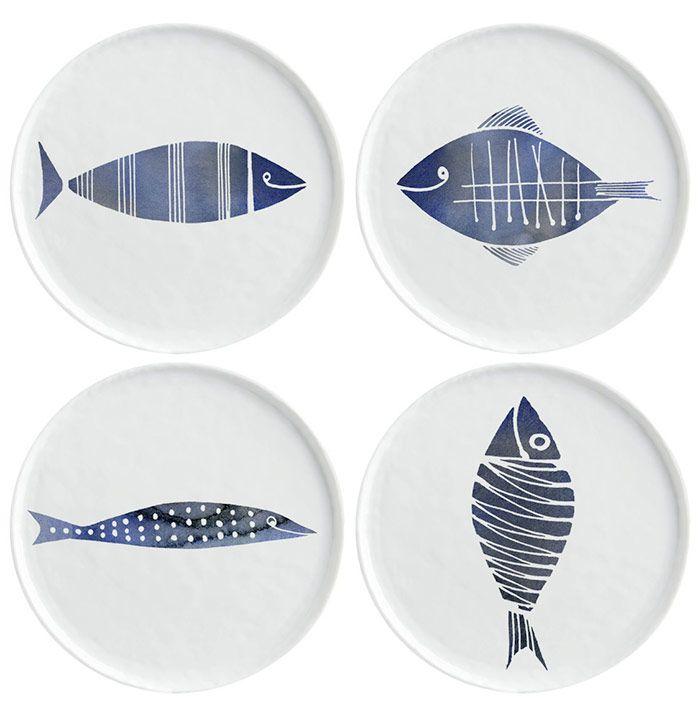 Margaret Berg Art: Fish+Family+Dinner+Plates