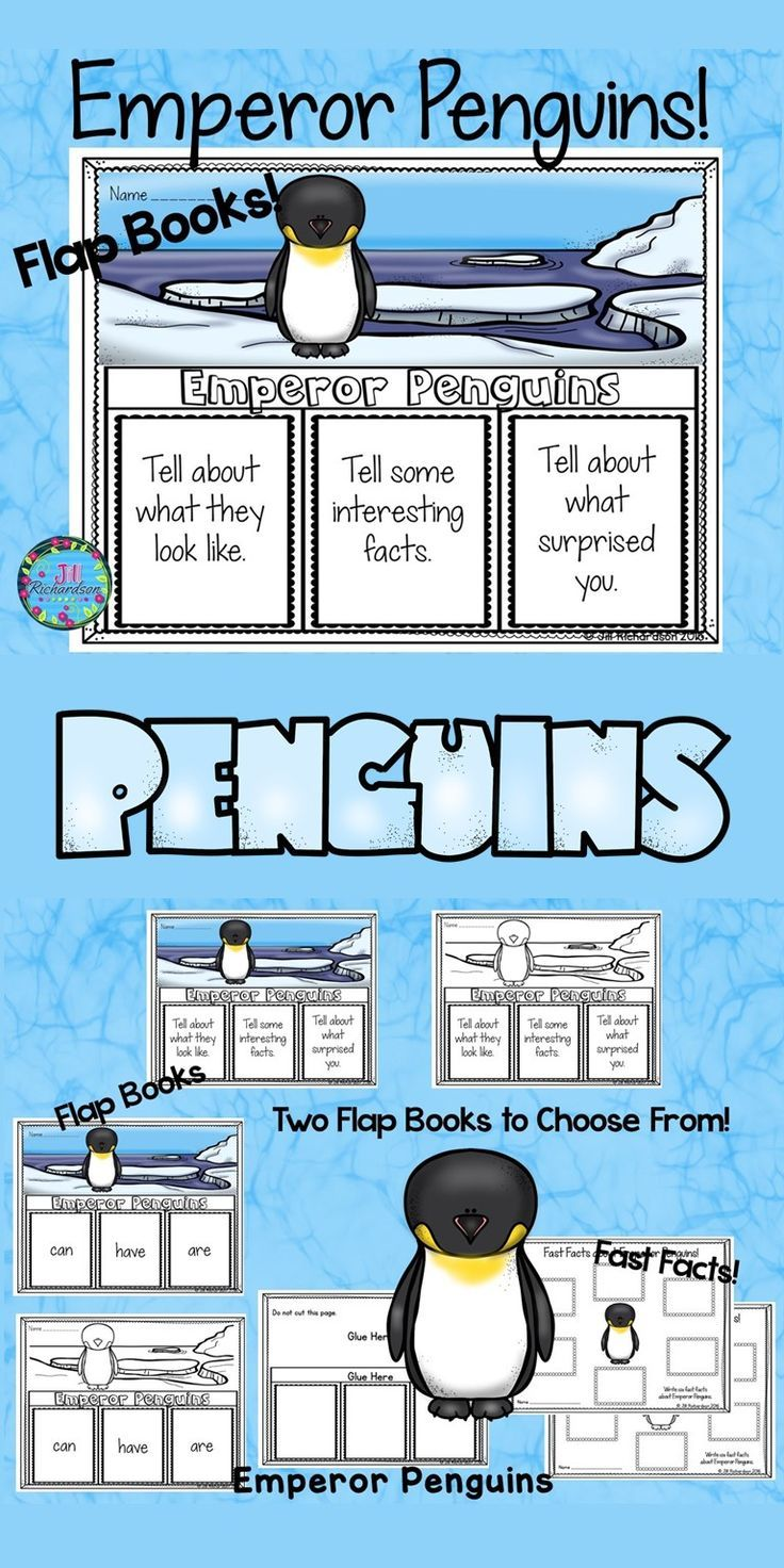 Your students will love researching penguins. Have your children research Emperor Penguins. This product includes three ways for your children to share what they have learned about Emperor Penguins in writing.  2 Emperor Penguins Flap books (color and bla