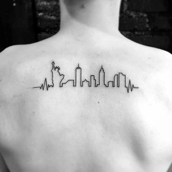 60 New York Skyline Tattoo Designs For Men Big Apple Ink Ideas Skyline Tattoo Nyc Tattoo New York Tattoo