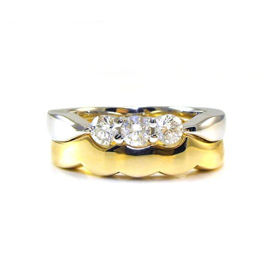three stone diamond engagement ring with scalloped fitted wedding ring using clients old gold