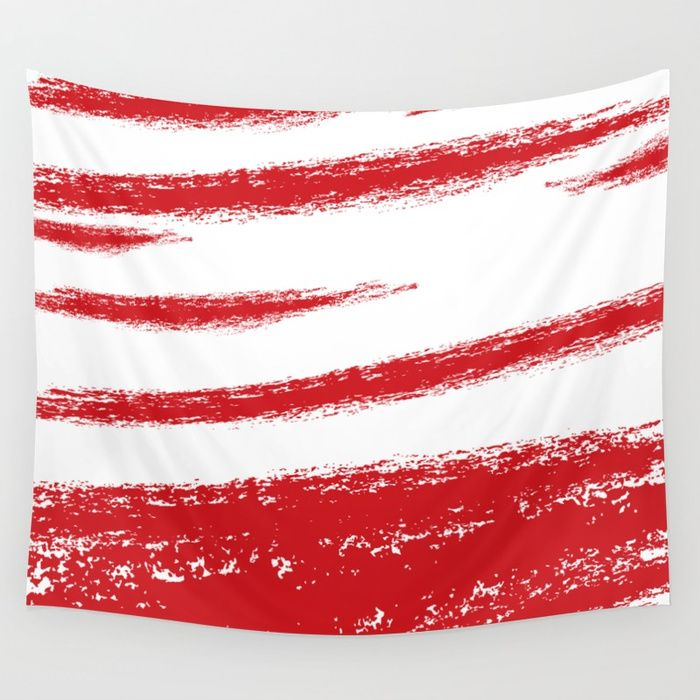 $43.99 Wall Tapestries made of 100% lightweight polyester with hand-sewn finished edges. Durable enough for both indoor and outdoor use. #art #print #wall #tapestry #home #decor #paint #brush #strokes #pattern #elegant #creative #modern #red #white #abstract #stripes #buyart #society6
