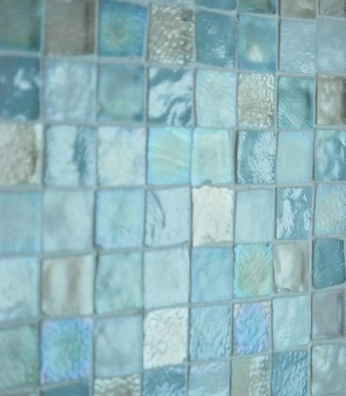 sea glass tile back splash... I want this in my master bathroom! It will match the theme of the bedroom.