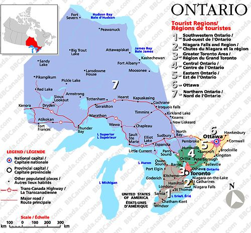 Map of Ontario | Please click on a tourist region