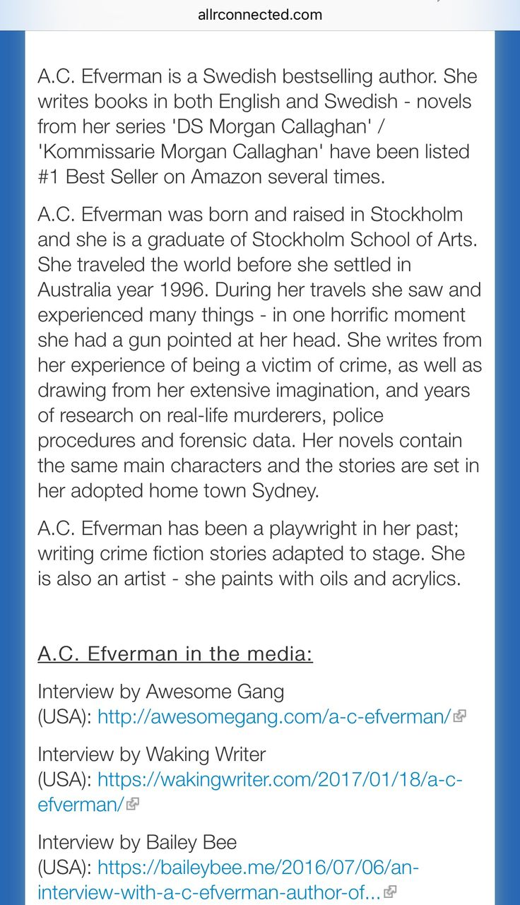 A.C. Efverman author page (Australia). - About A.C. Efverman & her novels + in the media.
