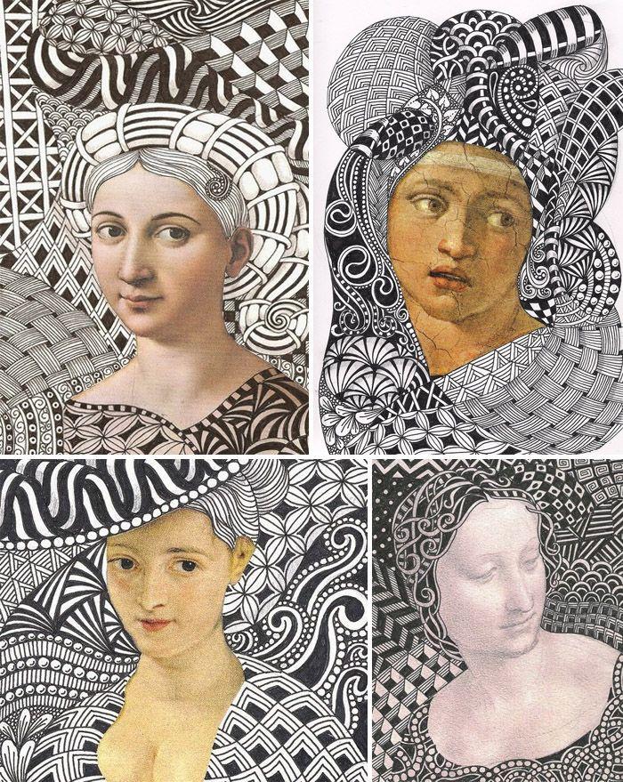Scarabocchiare ad arte: il doodling! – DidatticarteBlog.   Potete anche provare ad ispirarvi ad opere del passato. Banar Designs, ad esempio, crea un contorno di doodle ai volti di celebri dipinti della storia dell'arte.