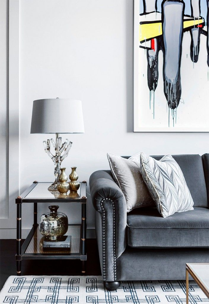 Cool Grey Velvet Sofa With Studding Detail With Gray Velvet Sofa