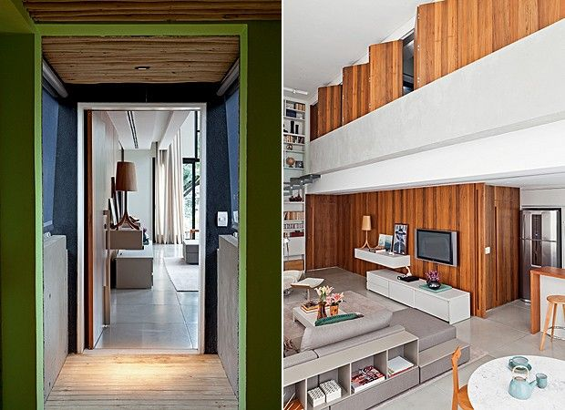 ALTO LÁ! LIVING: O pé-direito duplo de 5,23 m é visto desde a porta de entrada até a varanda.O sofá, com almofadas da empório Beraldin, e a mesa de centro são da Micasa. Tapete da Clatt. No fundo, na mesa Saarinen, cerâmicas da Kimi Nii. No piso, vasos da Objecto de Desejo. Cadeiras Girafa, da Marcenaria Baraúna (Foto: Lufe Gomes)