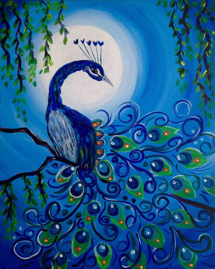 Best 25 peacock painting ideas on pinterest peacock art for Easy peacock paintings