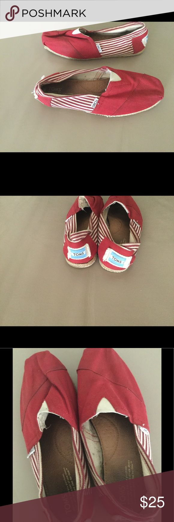Woman's Toms red/ cream stripes sz9 Ladies Toms.  Gently worn.  Great condition Toms Shoes Espadrilles
