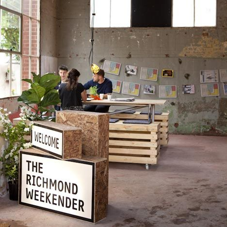 """""""Melbourne design studios Right Angle and Foolscap have created a temporary canteen, market and cinema in a former piano factory that until recently was the home of Australian television broadcaster Channel 9""""."""