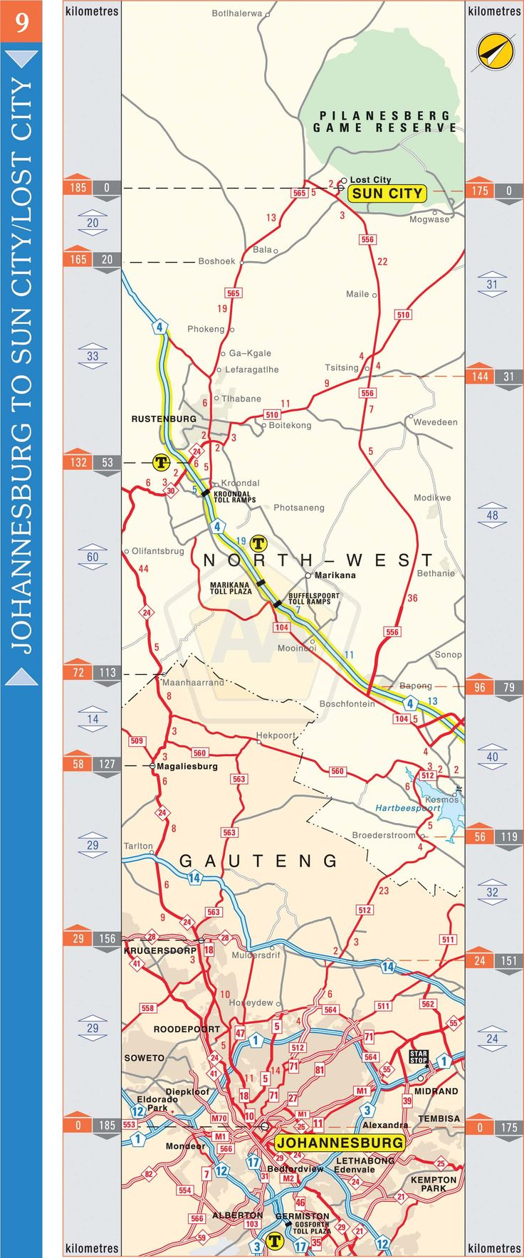 Johannesburg to Sun City via Rustenburg | Automobile Association
