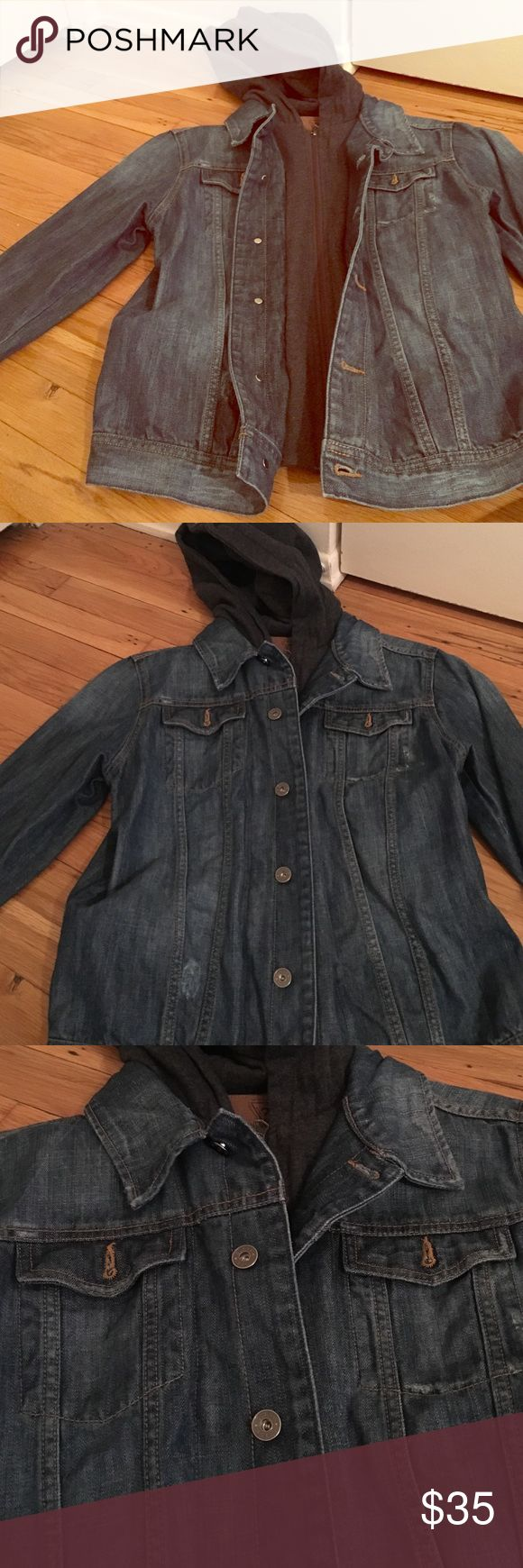 Jean jacket with hood Jean jacket with attached sweater & hood Guess Jackets & Coats Jean Jackets