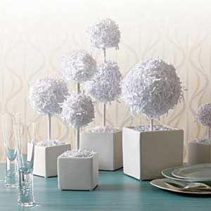 Shredded Paper Centerpieces