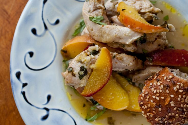 NYT Cooking: Roasted Chicken Thighs With Peaches, Basil and Ginger
