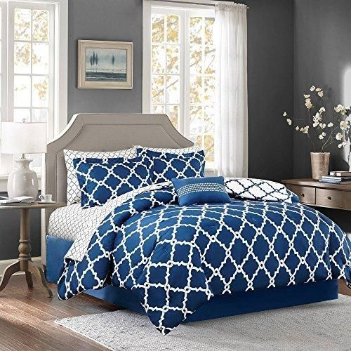 Girls Navy Blue Color Moroccan Comforter Set Twin Sheets Quatrefoil Fretwork Lattice Geometric Patter Comforter Sets Complete Bedding Set Sophisticated Bedroom