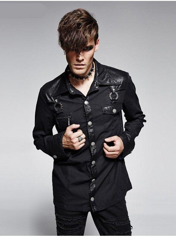 Men's best fashion and stylish gothic clothing, Mens Punk Bamboo Denim Shirt is made from black denim bamboo fabrics spliced with imitation leather. goo.gl/SQzjUW