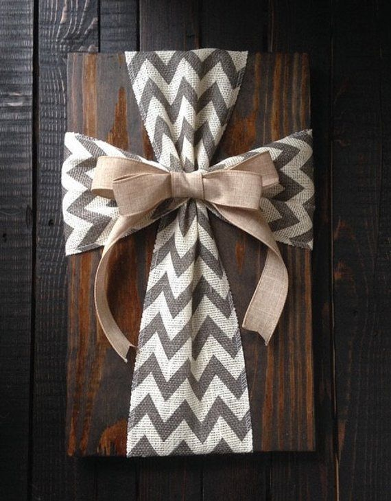 Burlap Ribbon Cross On Wood Sign With Wire Hanger 18 Tall