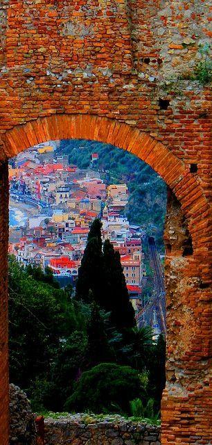 Taormina Messina, Sicily, Italy. Looks like a painting