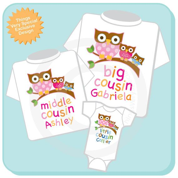 Set of Three Big Cousin Girl Owl Shirt Middle by ThingsVerySpecial