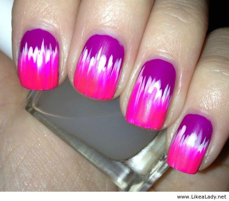 Pink neon colors - Nail art