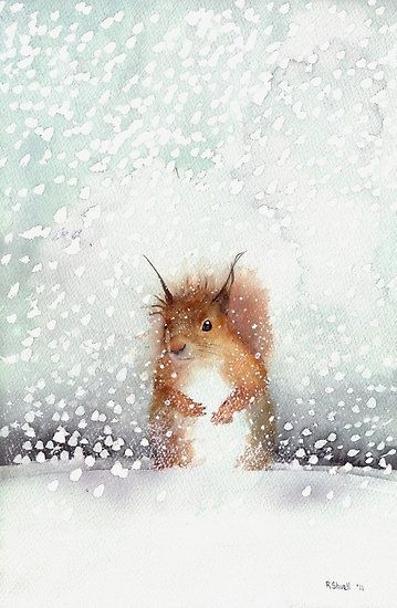 Red Squirrel in the Snow, or, Who Stole My Nuts? - Watercolour painting by Ray Shuell: