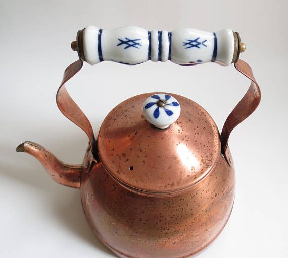 Vintage Copper Tea Kettle Ceramic Handle Blue White Shabby Chic Mediterranean Decor Wood Stove Humidifier Pot Cottage Rustic Old Water Dutch