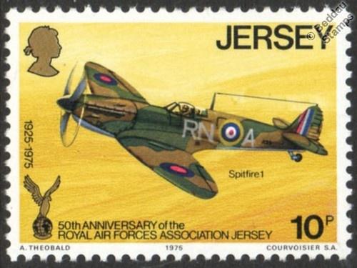RAF / RAFA SUPERMARINE SPITFIRE Mk.I WWII Fighter Aircraft Stamp (1975 Jersey) | eBay