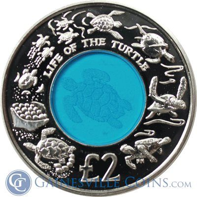 2009 British Indian Ocean Life Of The Turtle Sterling Silver & Crystal Coin…