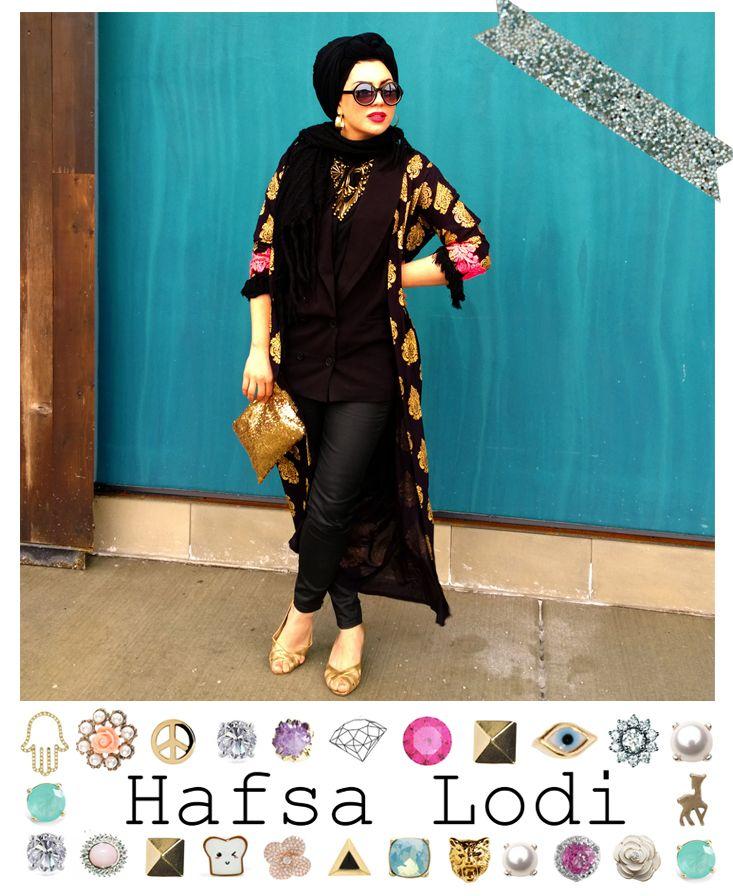 Imaan Ali of The Hijab Blog wears the Hafsa Lodi black and gold damask maxi cardi