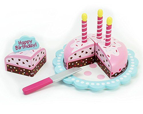 Childrens Wooden Play Food Set, Birthday Cake with Candles and Serving Tool! Wood Play and Pretend Food Candles and Happy Birthday Cake Set >>> Check this awesome product by going to the link at the image.
