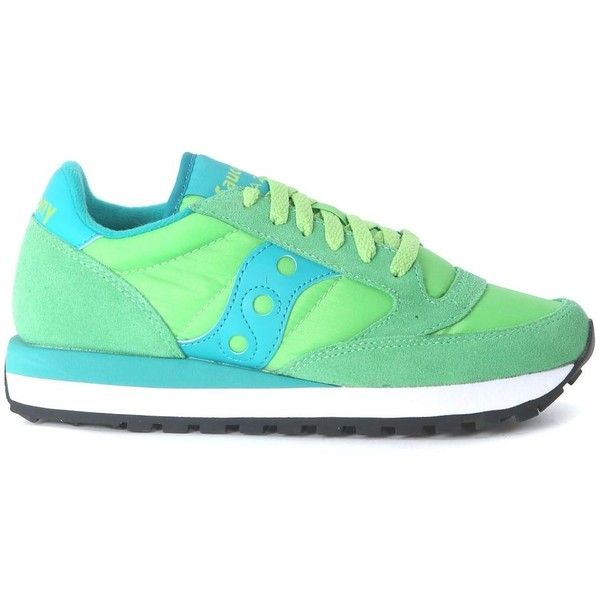 Saucony Jazz Sneaker in Green and Light Blue Suede and Nylon ($92) ❤ liked on Polyvore featuring shoes, sneakers, verde, suede shoes, green trainers, green sneakers, saucony and green suede shoes
