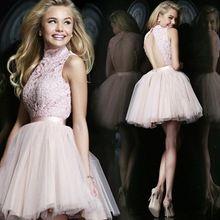 Neue Rosa Süße Spitze Kurze Cocktailkleider Die Braut Prinzessin High Neck Mini Partei A-Line Bankett Plus Size Prom Kleid //Price: $US $81.18 & FREE Shipping //     #cocktailkleider