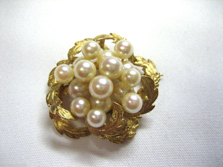 VINTAGE 14K YELLOW GOLD & 16 PEARL CLUSTER ESTATE JEWELRY BROOCH PIN