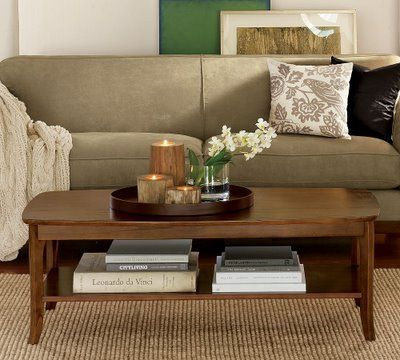 coffee table decor contained by tray neutrals green