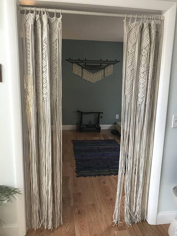 Large Macrame Door Curtains Of 2 Or 1 Panels Macrame Window Curtain Large Macrame Wedding Alter Macrame Wall Hanging Boho Altar Backdrop With Images Macrame Door Curtain Door Curtains Curtains