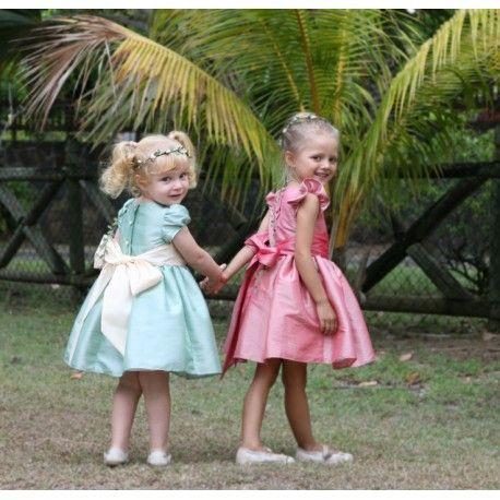 Emilie sage green knee length designer flower girl dress the perfect fit for a royal wedding! designer Little Eglantine