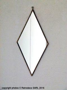 Miroir losange patine laiton, déco scandinave, Madam Stoltz