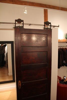 Damn...old door on a slide...would you look at that!: The Doors, Reclaimed Doors, Sliding Barns Doors, Inspiration Ideas, Lakes Houses, Bathroom Closet, Bedrooms Doors, Antiques Doors, Old Doors