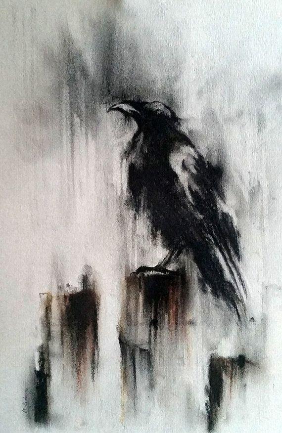 """Krähe Zeichnung Original Holzkohle schwarz / weiß Rabe Kunst 12 x 8 """""""