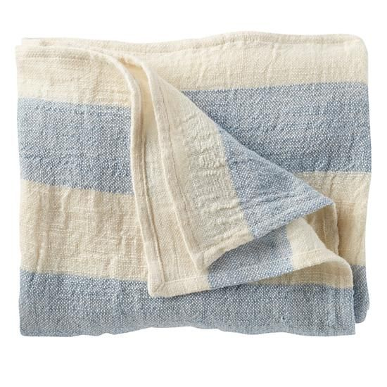 The Land of Nod | Kids Blankets: Light Blue Grey Striped Throw Blanket in Baby Quilts & Blankets