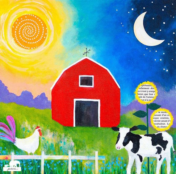 Print of an acrylic painting. Cow and rooster in by GinaLeeKim