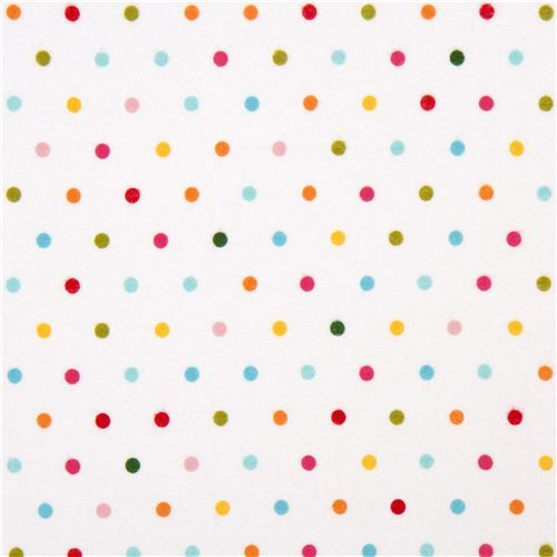 white Riley Blake flannel fabric with colourful dots