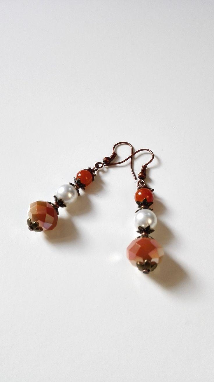 Boucles d'oreilles cuivre antique perles multifacettes féériques : Boucles d'oreille par miss-perles