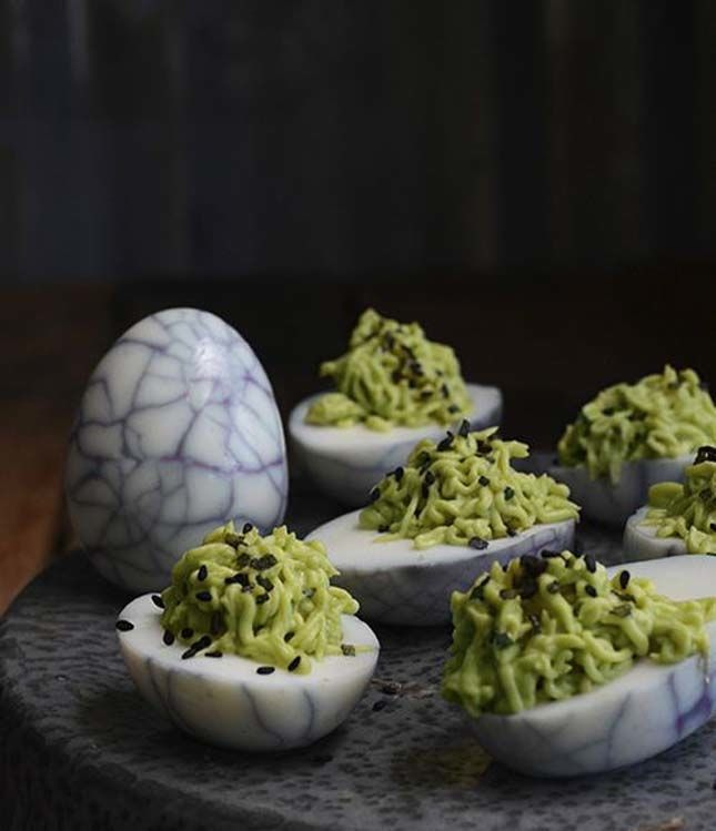50 Halloween Recipes Guaranteed to Freak Out Your Guests. These deviled eggs are incredible!