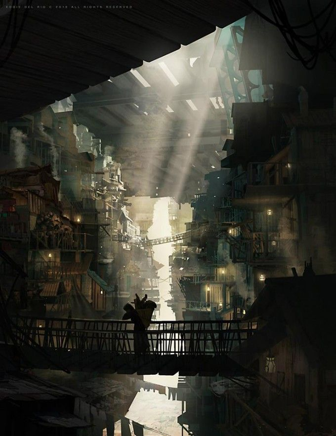 THIS!  Subterreaneanandnan city, with daylight streaking in.  And a bridge.  Eddie_Del_Rio_Concept_Art_n01