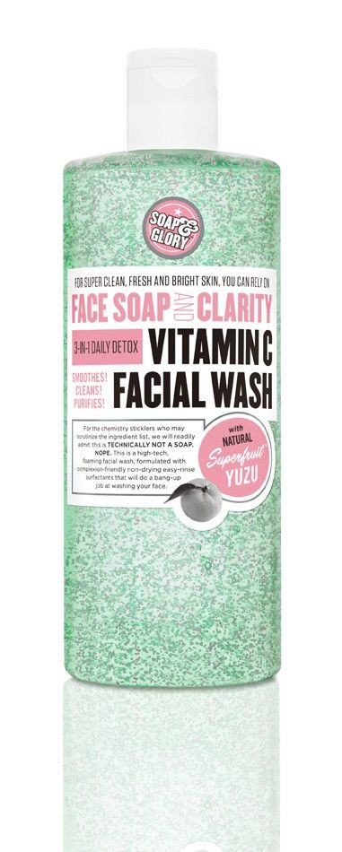 FACE SOAP AND CLARITY™ 3-in-1 Daily Detox Vitamin C Facial Wash smoothes and purifies for super clean, fresh and bright skin. With complexion-friendly, non-drying, easy-rinse ingredients including natural SUPERFRUIT™ YUZU and ULTRA-SOFT SCRUB-BEADS, this high-tech foaming facial wash is a multitasking miracle - $15.00 - Soap & Glory