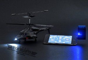 Apache iHelicopter iPhone/iPad/iPod Touch/Android Phone Controlled RC Helicopter (Night Camouflage) by China Supply. $56.99. Battery: 3.7V 160mAh Li-Polymer Movement: Left/Right Rotation, Forward/Back, Hover and Land/Missile Launch Control Range: above10 meters 3 Channel Band Selection (A/B/C) Gyro Tilt Control Suitable for all iPhone, iPad and iPod Touch models Suitable for HTC Desire S, HTC Desire HD, HTC Incredible S, HTC Wild Fire, HTC Wild Fire S, HTC Hero, HTC Se...