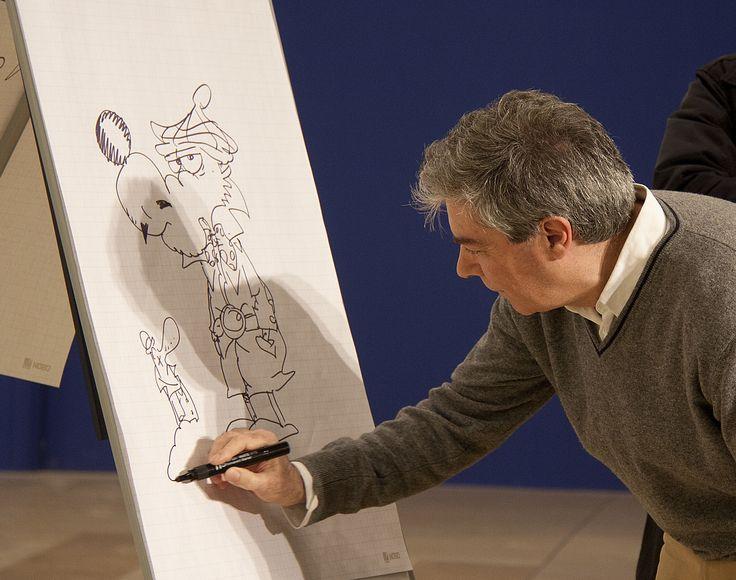 Silver, durante l'inaugurazione della mostra dedicata a Supergulp (2011), disegna un Lupo Alberto in versione Nick Carter.
